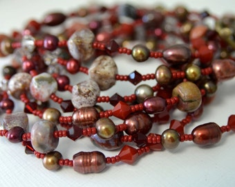 Dark Red Ocean Jasper Necklace with Matching Earrings Scarlet Red Freshwater Pearls perfect for Valentine's Day . Handmade in Maine