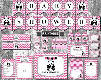 Hot Pink Girl Panda Baby Shower Decorations Package Digital Printable PDFs Instant Download- Baby Shower