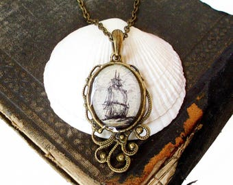 Pirate Ship Necklace - High Seas Antique Nautical Print Pendant in Bronze - Pirate Jewelry - Beach
