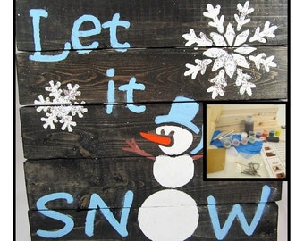 """DIY Christmas Craft Project - DIY Board Sign Craft Kit - Make Your Own 12""""x12"""" Christmas Board Sign: Let It Snow / Snowman Craft Project Kit"""