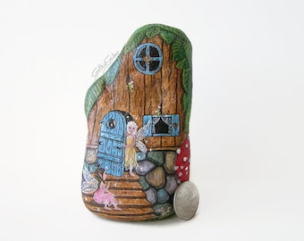 Painted rock, painted stone, fairy house, fairy door, lady bug, toad stools, butterfly, garden decor, bumble bee, painted rock house, fairy