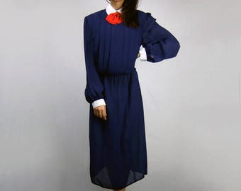Vintage Navy Blue Dress Long Sleeve Collared Dress 80s Sailor Dress Madeline Inspired Halloween Costume Plus Size Dress - Extra Large XL XXL