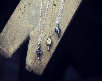 sterling silver FU middle finger cheeky pendant