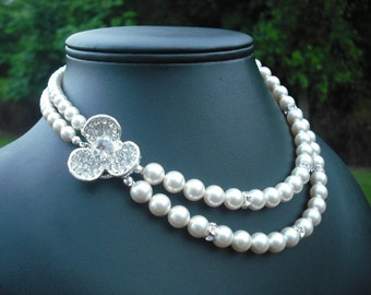 ANNA Collection, Bridal Necklace, Rhinestone and Pearl Necklace, Vintage Style Bridal Necklace, Wedding Jewelry