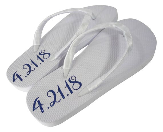 Pink Date Wedding Silver Gold Flops Flip Blue White for the in Shimmer Custom Lettering Color Bride Royal Flat dZqTwx1SWZ