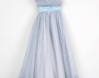 Blue Moon Tulle and Polka Dot Prom Party Dress