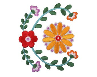 Flower Vines Iron On Applique, Floral Iron On Patch, Flower Applique, Floral Vines Patch, Flowers Patch, Wedding Applique, Embroidered Patch