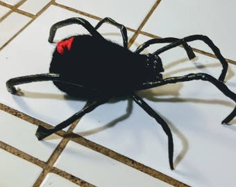 Handmade Crocheted Black Widow Spider, Halloween Decorations
