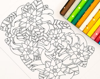 Instant Download Floral Coloring Page: A digital coloring page for adults with flowers and leaves. Simple design perfect for a beginner.