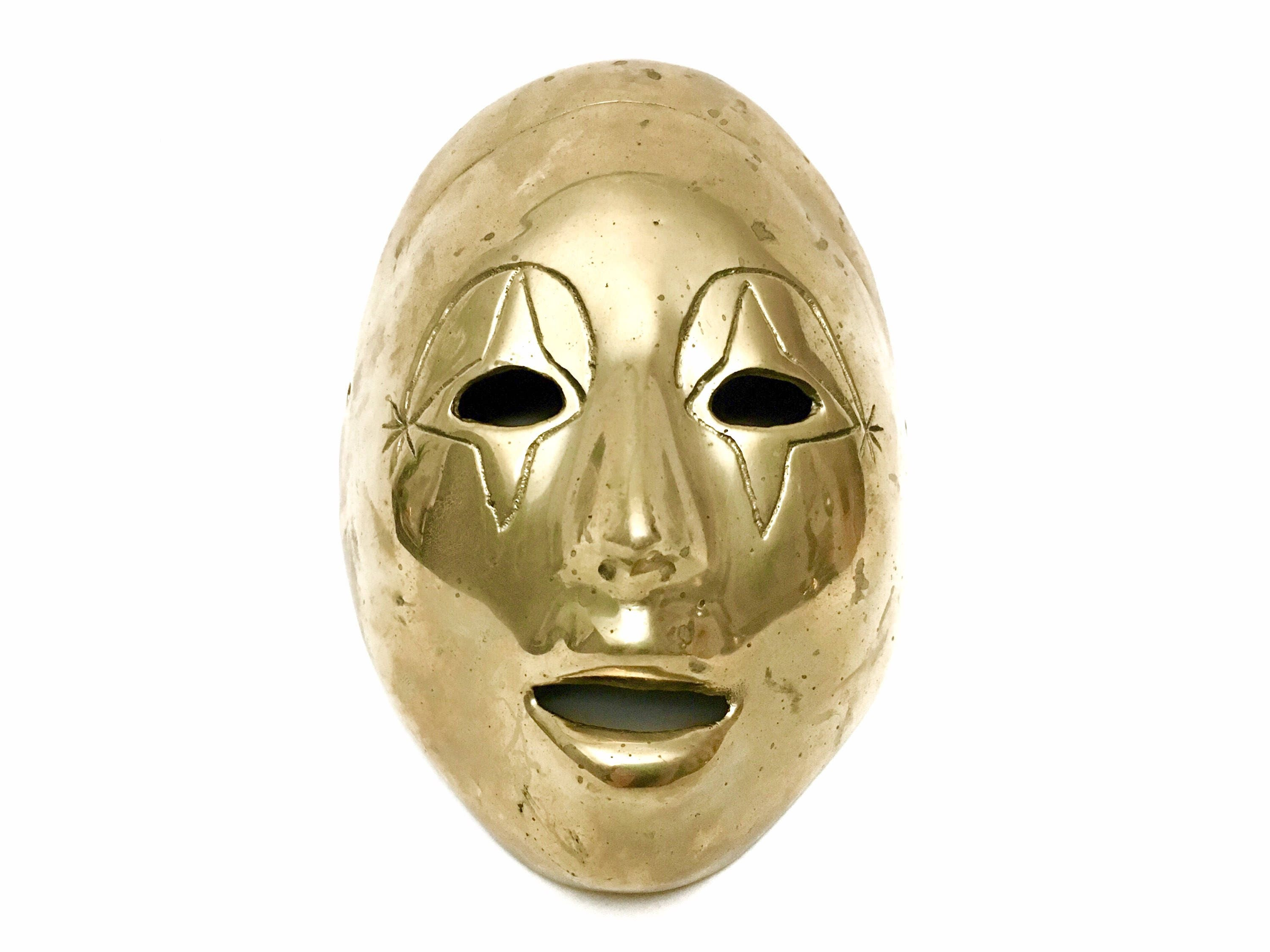 Vintage Brass Theater Drama Face Mask Masquerade Ball Mardi