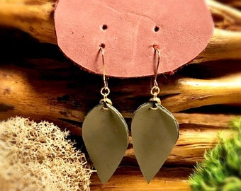 Green leather leaf earrings.