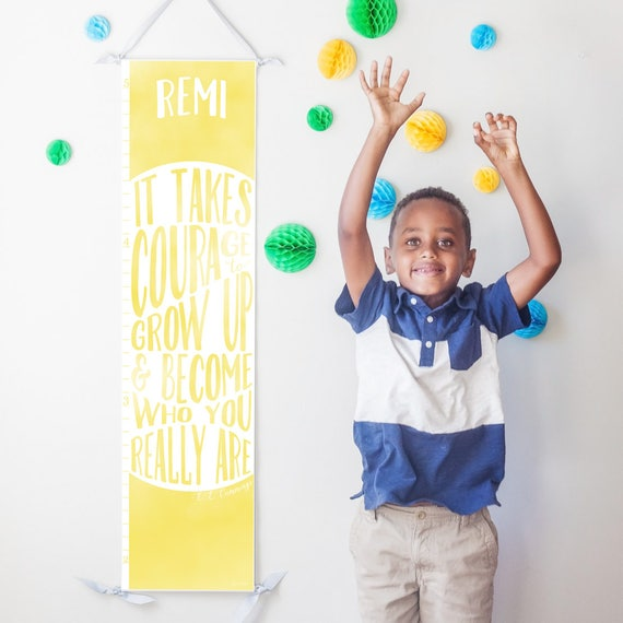 "Yellow ""It takes courage to grow up"" growth chart"