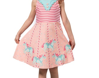 Molly Kids Dress, Printed Merry-go-around Carousel Horse Fit and Flare Skater Baby Girls Dress