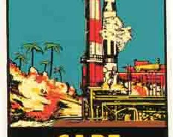 Vintage Style Cape Canaveral Florida Space NASA Cocoa Beach  Travel Decal sticker