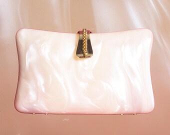 Vintage Ivory Lucite Clutch Handbag Made in Hong Kong