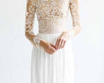 Amazing Bohemian Illusion Lace long sleeve Wedding Gown, wedding dress, wedding gown, wedding wear, wedding, hand made wedding dress