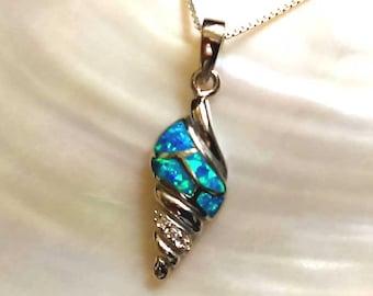 Blue Sea Opal Pendant, Silver Shell Pendant, Sterling Silver Pendant, Silver Opal necklace, 925 Blue Opal Pendant, Opal Jewelry, 925 Silver