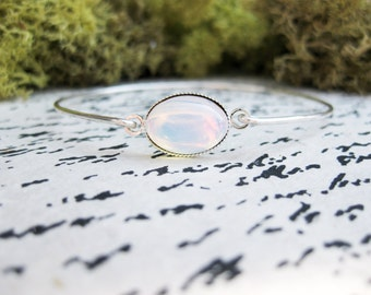 Fire Opal & Sterling Silver Bangle Bracelet | 925 Sterling Silver Bangle Bracelet | Fire Opal Gemstone Jewelry | October Birthday Gemstone