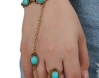 Bold turquoise slave bracelet, gold and turquoise hand jewelry, boho turquoise bracelet, hippie jewelry, ethnic jewelry, hand jewelry