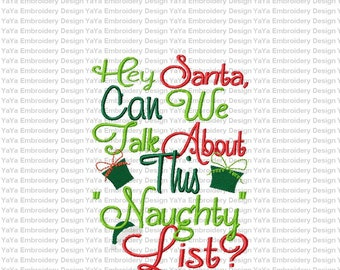 Santa's Naughty list embroidery design