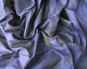 Midnight blue raw silk wedding bridal peace shantung silk fabric number 764  - per yard or meter