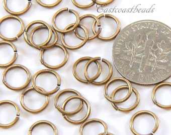 TierraCast Jump Rings, 6 mm 19 Gauge Jumprings, Round Jump Rings, Chain Male Findings, Antiqued Solid Brass,  100 Pieces , 2527