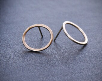 "Modern solid 14K gold earrings handmade in a classy and elegant style for a pair of round hammered studs - ""Petite Simple Classic Circles"""