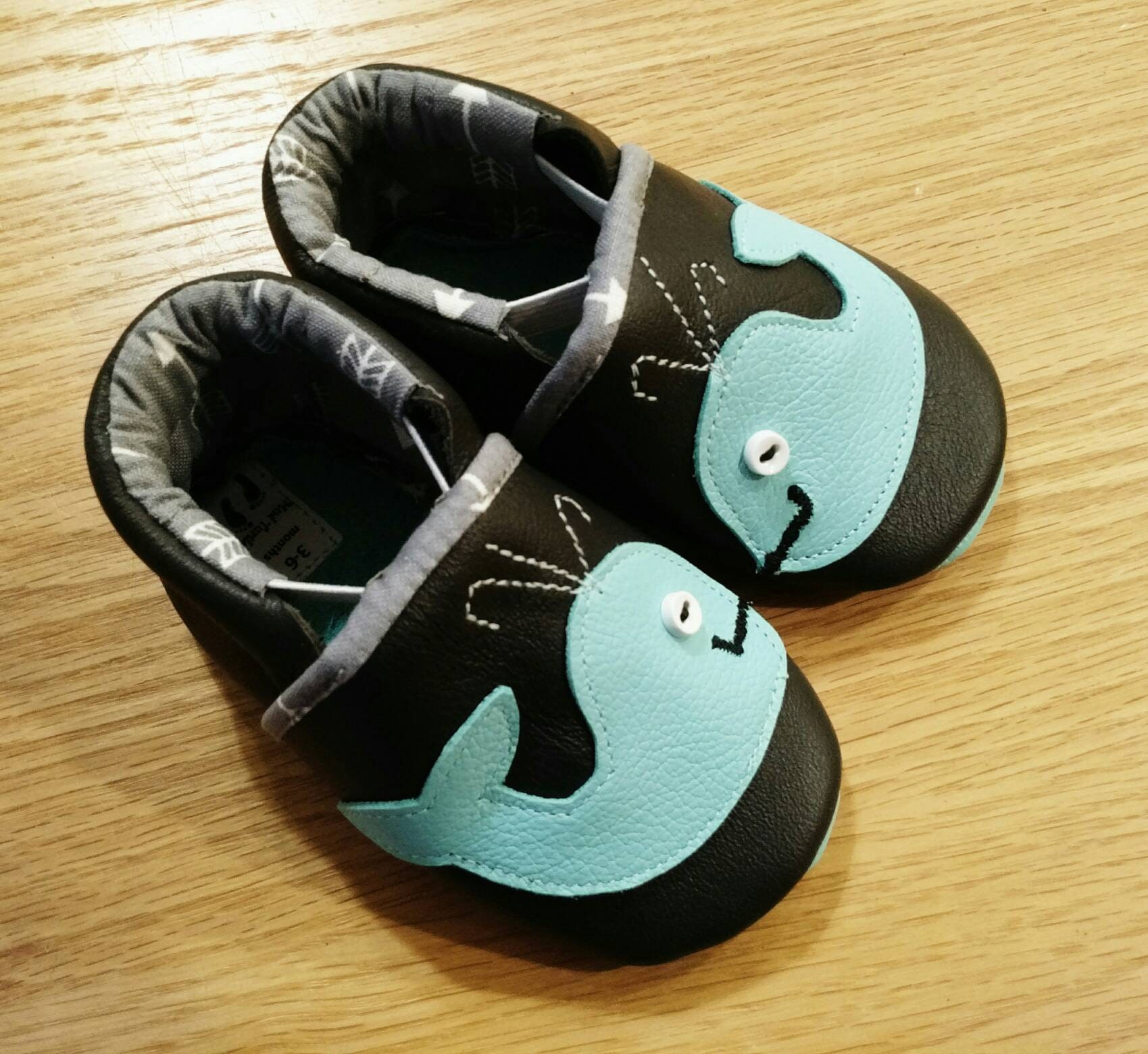 Baby boy shoes whale booties size 3 6 months leather soft