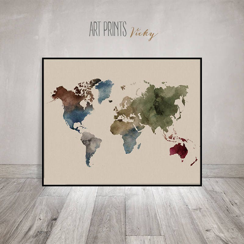 World map poster World map art print watercolor map Large