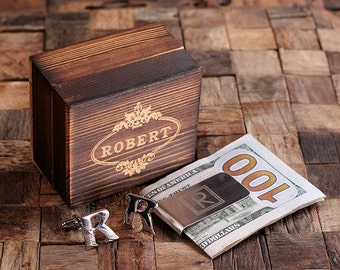 """Initial """" R """" Personalized Men's Classic Cuff Link & Money Clip with Wood Box Monogrammed Engraved Groomsmen, Best Man, Father's Day Gift"""