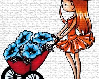 Anita Gardening Digital Stamp by Sasayaki Glitter Black and white