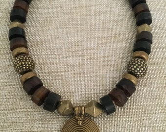 Black/brown Agate with Brass Accents and Focal Pendant