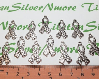 15 pcs per pack 26x14mm Puzzle Ribbon for Autism Charm Antique Silver Finish Lead Free Pewter