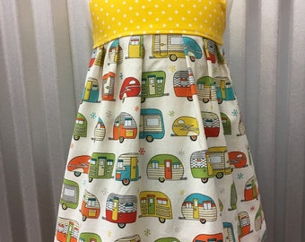 Vintage camping trailer dress,  Camping Trailer Party Dress, Girls dress with trailers, Handmade, Airstream Size 12-18 months, and size 6