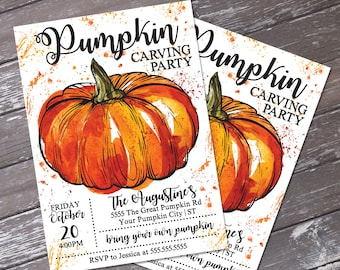 Pumpkin Carving Party Invitation - Fall Party, Pumpkin Invitation, Autumn Party, Self-Editing | DIY Editable Text INSTANT DOWNLOAD Printable
