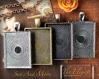 10 Rectangle Blank Bezel Trays w Glass Elegant Pendant Tray Settings ~ DiY Wholesale ~
