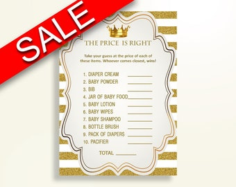 Price Is Right Baby Shower Price Is Right Royal Baby Shower Price Is Right Gold White Baby Shower Gold Price Is Right digital print Y9MQF