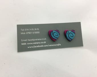 Heart studs - polymer stud earrings