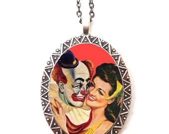 Clown Romance Necklace Pendant Silver Tone - Pulp Romantic 1950s Kitsch Retro