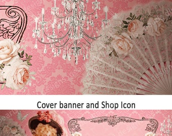 vintage roses Etsy Cover banner and shop icon, instant download, lady in hat, chandelier, vintage theme, pink, damask, lace fans