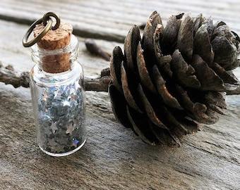 Beautiful glass vial pendant star glitter
