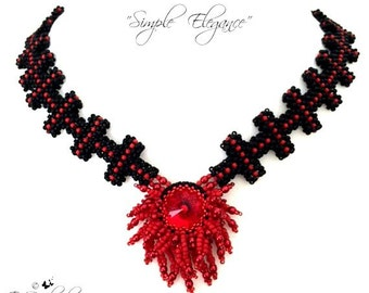 """Beading pattern """"Simple Elegance"""" Necklace in English   D.I.Y"""