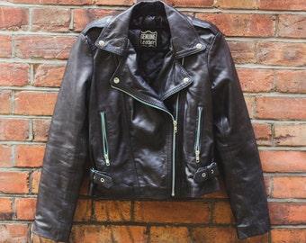80's Style Classic Lambskin Biker Jacket