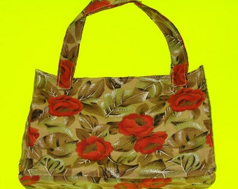 LAST ONE! Pretty as a Rose Red Floral Satin Sepia Toned Classic Handbag Purse