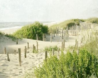Beach Photography, Landscape Photo, Outer Banks, Sand, Dunes, Coastal Decor, Ocean, Fine Art Print, Nature Photo, Sea Green, Beige
