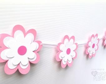 Pink flower banner. Floral baby shower, birthday party, party decor. New Baby, First birthday, Party Bunting or garland. Photo prop.