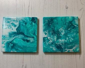 Abstract Ceramic Tile Coasters - Set of 2, Aqua & White