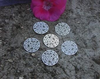 Engraving X 6 round filigree silver metal 20 mm.