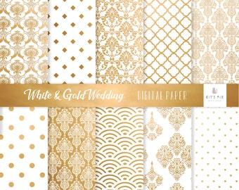 Wedding digital paper Damask digital paper gold white Commercial use Card making Scrapbook paper