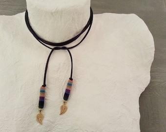 Indigo Bolo Choker, Wrap Tie Necklace, Wrap Bolo Choker, Gold Leaf Bolo Choker, Suede Bolo Necklace, Deep Purple Bolo Necklace
